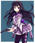 1girl akemi_homura bad_id black_hair colored frills gun hairband handgun kaima long_hair magical_girl mahou_shoujo_madoka_magica nightmare77zx pantyhose pistol purple_eyes revolver simple_background solo weapon