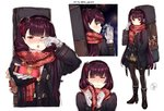 1girl absurdres alternate_costume bangs be_garam black_coat black_footwear black_legwear black_skirt black_vest blush boots breasts breathing brown_skirt coat commentary crying crying_with_eyes_open eyebrows_visible_through_hair gift girls_frontline giving gloves hair_ornament hair_ribbon half-closed_eyes half_updo hand_in_pocket happy_tears high_heel_boots high_heels highres holding holding_gift large_breasts long_hair looking_at_viewer necktie one_eye_closed one_side_up open_clothes open_coat open_mouth pantyhose plaid plaid_skirt pleated_skirt purple_hair red_eyes red_neckwear red_scarf ribbon scarf shirt sidelocks simple_background skirt snowflake_hair_ornament snowflake_print tears twitter_username untucked_shirt very_long_hair vest wa2000_(girls_frontline) weapon_bag white_gloves
