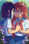2girls ange_(angeban93) antenna_hair blue_hair blue_skirt bracelet brown_eyes commentary english_commentary eye_contact flip_flappers flower hair_between_eyes highres holding_hands interlocked_fingers jewelry kokomine_cocona long_hair looking_at_another multiple_girls papika_(flip_flappers) pleated_skirt purple_flower red_hair school_uniform serafuku skirt smile tree yuri