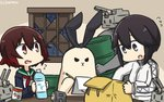 2girls animalization bag black_eyes black_hair bottle can canned_food check_commentary commentary_request dated drum_(container) flying_sweatdrops gradient_hair green_sailor_collar hamu_koutarou hayasui_(kantai_collection) highres holding indoors jacket kantai_collection moon_(ornament) multicolored_hair multiple_girls mutsuki_(kantai_collection) neckerchief notepad open_mouth pencil rain red_hair red_neckwear rensouhou-chan sailor_collar school_uniform serafuku shimakaze_(kantai_collection) shimakaze_(seal) short_hair spotlight translated water_bottle window writing