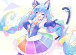 1girl ;d animal_ears blue_cat blue_choker blue_gloves blue_hair cat_ears cat_tail choker cure_cosmo earrings eyebrows_visible_through_hair gloves hand_on_hip hat jewelry long_hair looking_at_viewer magical_girl mini_hat multicolored multicolored_clothes multicolored_skirt one_eye_closed open_mouth orange_eyes precure skirt smile solo spoilers star_twinkle_precure suyamii tail twintails very_long_hair