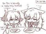 ... 2girls >_< animal_ears ascot brooch commentary cup dog_ears drinking_glass english eyebrows_visible_through_hair food hair_between_eyes imaizumi_kagerou jewelry kasodani_kyouko lineart long_hair messy_hair multiple_girls pizza plate ramadan short_hair simple_background sleepy table time tired touhou triangle_mouth wolf_ears wool_(miwol)