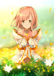 1girl absurdres blurry estellise_sidos_heurassein flower gloves grass green_eyes highres humi petals pink_hair short_hair smile solo tales_of_(series) tales_of_vesperia white_coat white_gloves
