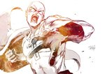 1boy absurdres bald blank_eyes bodysuit cape clenched_hand commentary gloves highres hiraoka_koushi huge_filesize male_focus monochrome muscle one-punch_man open_mouth punching saitama_(one-punch_man) superhero