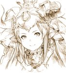 1girl aliza_(granblue_fantasy) draph earrings granblue_fantasy hair_pulled_back horns jewelry junwool long_hair monochrome pointy_ears sepia simple_background smile solo upper_body white_background