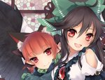 2girls :d animal_ears arm_garter bangs bird_wings black_bow black_hair black_wings blunt_bangs blush bow cat_ears commentary_request dress_shirt extra_ears feathered_wings green_bow hair_between_eyes hair_bow kaenbyou_rin long_hair looking_at_viewer multiple_girls open_mouth pointy_ears puffy_short_sleeves puffy_sleeves red_eyes red_hair reiuji_utsuho shirt short_sleeves shoulder_cutout smile third_eye touhou toutenkou upper_body white_shirt wings