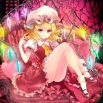 1girl ascot blonde_hair bobby_socks closed_mouth couch crossed_legs crystal cushion flandre_scarlet frilled_skirt frilled_sleeves frills full_body glowing glowing_wings hair_twirling hand_up hat hat_ribbon heart highres holding indoors knees_up kuramoto_kaya laevatein legs light_particles looking_at_viewer mary_janes medium_hair mob_cap one_side_up puffy_short_sleeves puffy_sleeves red_eyes red_footwear red_ribbon red_skirt red_vest ribbon shirt shoes short_sleeves sitting skirt skirt_set smile socks solo touhou vest white_legwear white_shirt wings yellow_neckwear