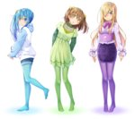 3girls :o ashida_machi bangs blonde_hair blouse blue_eyes blue_hair blue_legwear blue_shorts blush bow bowtie brown_hair center_frills closed_mouth collared_blouse color_coordination commentary corset dress eyebrows_visible_through_hair frills green_dress green_legwear green_shirt gurande_(g-size) hair_between_eyes hair_bow hair_ornament hair_over_one_eye hairclip head_tilt heart highres hood hood_down hoodie leaning_to_the_side long_hair long_sleeves looking_at_viewer looking_to_the_side multiple_girls no_shoes ooashi_ran original pantyhose parted_lips pencil_skirt purple_legwear purple_neckwear purple_skirt raglan_sleeves shirt short_dress short_shorts short_sleeves shorts side_ponytail simple_background skirt smile star star_hair_ornament two_side_up very_long_hair white_background white_blouse white_hoodie yellow_bow yellow_eyes yogiashi_touka