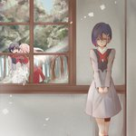 1boy 2girls arm_over_shoulder bangs black_hair black_legwear blue_eyes breasts closed_eyes commentary_request couple dappled_sunlight darling_in_the_franxx dress eyebrows_visible_through_hair forest green_eyes grey_dress hair_ornament hairband hairclip hetero highres hiro_(darling_in_the_franxx) horns hug ichigo_(darling_in_the_franxx) jealous light_rays long_hair long_sleeves military military_uniform multiple_girls nature necktie netorare oni_horns pantyhose pink_hair red_dress red_horns red_neckwear sad short_hair small_breasts sunbeam sunlight thighs tree uniform white_hairband window yraskaagaos-fp zero_two_(darling_in_the_franxx)