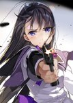 1girl aiming_at_viewer akemi_homura bangs black_hair blurry blurry_background blurry_foreground bow closed_mouth commentary_request depth_of_field eyebrows_visible_through_hair firing firing_at_viewer gun handgun highres holding holding_gun holding_weapon hoshii_hisa jacket long_hair long_sleeves mahou_shoujo_madoka_magica muzzle_flash outstretched_arm pistol purple_bow purple_eyes purple_sailor_collar sailor_collar simple_background solo upper_body v-shaped_eyebrows very_long_hair weapon white_background white_jacket