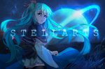 1girl black_capelet black_legwear blue_eyes blue_hair capelet cowboy_shot eyebrows_visible_through_hair floating_hair frilled_capelet frills hair_between_eyes hair_ribbon hatsune_miku highres lens_flare long_hair looking_at_viewer looking_back miniskirt neck_ribbon night open_mouth outdoors pink_ribbon pleated_skirt red_ribbon ribbon skirt sky solo standing star_(sky) starry_sky thighhighs twintails user_cxmk7438 very_long_hair vocaloid wide_sleeves