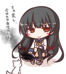 1girl animal bangs black_hair black_legwear black_skirt blue_sailor_collar blush_stickers brown_eyes burnt_food cat closed_mouth commentary_request eyebrows_visible_through_hair fish food gloves holding holding_plate isokaze_(kantai_collection) kantai_collection kneehighs komakoma_(magicaltale) long_hair long_sleeves plate pleated_skirt sailor_collar saury school_uniform serafuku shadow shirt single_kneehigh single_thighhigh skirt smile smoke solo squatting thighhighs v-shaped_eyebrows very_long_hair white_background white_cat white_gloves white_shirt