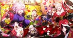 5girls ahoge alcohol animal_ears blonde_hair blue_legwear bow bowl breasts cleavage closed_eyes earrings face_painting fate/grand_order fate_(series) flower food fox_ears fox_tail hair_between_eyes hair_bow hair_flower hair_ornament hair_over_one_eye highres japanese_clothes jewelry kimono kiyohime_(fate/grand_order) kotatsu large_breasts legs looking_at_viewer lying mash_kyrielight medium_breasts microphone miyamoto_musashi_(fate/grand_order) mouth multiple_girls music nero_claudius_(fate) nero_claudius_(fate)_(all) new_year noodles open_mouth orange_eyes pink_hair purple_hair reaching_out sash shinooji short_hair sign silver_eyes silver_hair singing steam table tail tamamo_(fate)_(all) tamamo_no_mae_(fate) thighs tray twintails yellow_eyes