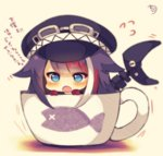 1girl :o azur_lane bangs black_hair black_hat blue_eyes blush chibi cup deutschland_(azur_lane) eyebrows_visible_through_hair flight_goggles flying_sweatdrops gloves goggles goggles_on_headwear hair_flaps hat in_container in_cup long_hair multicolored_hair muuran open_mouth peaked_cap red_gloves red_hair signature solo streaked_hair translation_request very_long_hair white_hair