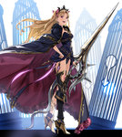 1girl :d armor armored_boots asymmetrical_legwear bangs birdcage black_dress black_footwear black_legwear black_leotard blonde_hair boots bow cage cape cloak commentary_request dress ereshkigal_(fate/grand_order) fate/grand_order fate_(series) fur_trim hair_bow high_heel_boots high_heels highres holding holding_sword holding_weapon lance leotard long_hair open_mouth parted_bangs polearm purple_bow purple_eyes red_eyes single_greave single_thighhigh skull smile solo spine sword teeth thighhighs thighs tiara two_side_up weapon yahako