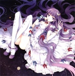 1girl alternate_costume bare_shoulders bow choker crescent crescent_hair_ornament dress face finger_to_mouth full_moon hair_bow hair_ornament highres lace lace-trimmed_thighhighs legs long_hair lying moon no_hat no_headwear on_back patchouli_knowledge purple_eyes purple_hair ribbon scan solo star tearfish thighhighs touhou very_long_hair white_dress white_legwear wrist_cuffs