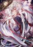 1boy brown_eyes cherry_blossoms fan floating_hair flower from_behind hamaru_log head_tilt highres holding japanese_clothes kimono long_hair looking_at_viewer looking_back male_focus original parted_lips pink_flower red_ribbon ribbon silver_hair smile solo very_long_hair