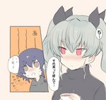2girls aimai_(luckyfive) anchovy black_hair black_ribbon blush braid brown_eyes commentary_request cup girls_und_panzer green_hair hair_ribbon holding holding_cup medium_hair multiple_girls no_nose open_mouth pepperoni_(girls_und_panzer) red_eyes ribbon single_braid sketch sweat translated turtleneck twintails upper_body yuri
