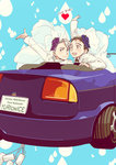 2boys :d black_hair blue_eyes blue_flower blue_rose bridal_veil brown_eyes can car character_name copyright_name english_text flower ground_vehicle hair_slicked_back heart highres husband_and_husband katsuki_yuuri male_focus motor_vehicle mouri multiple_boys open_mouth purple_flower purple_rose rose silver_hair smile veil viktor_nikiforov waving yaoi yuri!!!_on_ice
