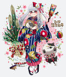 1girl 2018 animal animal_costume ball bamboo basket closed_mouth dog_costume domino_mask earrings floral_print flower full_body grey_background grey_hair hagoita hair_flower hair_ornament hanetsuki happy_new_year holding holding_animal inkling jajji-kun_(splatoon) japanese_clothes jewelry kadomatsu kimono kojajji-kun_(splatoon) long_hair looking_at_viewer mask mimimi_(echonolog) mole mole_under_mouth new_year paddle pointy_ears print_kimono red_eyes sandals smile solo spinning_top splatoon splatoon_2 squid standing tabi temari_ball tentacle_hair white_legwear year_of_the_dog