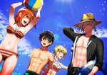 2boys 2girls :d ahoge armpits arms_up artoria_pendragon_(all) artoria_pendragon_(swimsuit_archer) ball beachball bikini black_hair black_jacket black_ribbon blonde_hair blue_eyes blue_ribbon blue_sky bracelet braided_bun breasts brilliant_summer cleavage cloud collarbone criss-cross_halter dutch_angle edmond_dantes_(fate/grand_order) fate/grand_order fate_(series) from_below fujimaru_ritsuka_(female) fujimaru_ritsuka_(male) green_eyes hair_between_eyes hair_ribbon halterneck hat hat_ribbon holding holding_ball innertube jacket jewelry lens_flare looking_to_the_side medium_breasts multiple_boys multiple_girls open_clothes open_jacket open_mouth orange_bikini orange_hair ribbon shinomori_(menonoshi) shiny shiny_hair short_hair side-tie_bikini silver_hair sky smile sparkle striped striped_bikini sun_hat sunlight swimsuit white_bikini_top yellow_eyes yellow_headwear