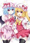 2girls bangs bat_wings black_legwear blonde_hair blue_hair blush bow bowtie clenched_hand commentary_request cowboy_shot crystal dress eyebrows_visible_through_hair fang fang_out flandre_scarlet frilled_shirt_collar frills hair_between_eyes hand_up hat hat_bow highres long_hair looking_at_viewer mob_cap multiple_girls one_side_up open_mouth petticoat pink_dress pink_eyes pink_headwear puffy_short_sleeves puffy_sleeves red_bow red_eyes red_neckwear red_skirt red_vest remilia_scarlet shirt short_dress short_hair short_sleeves siblings sisters skirt skirt_set smile standing subaru_(subachoco) thighhighs thighs touhou vest white_background white_headwear white_shirt wings wrist_cuffs yellow_bow yellow_neckwear zettai_ryouiki