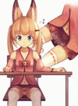 1girl :3 animal_ears asa_no_ha_(pattern) bell blonde_hair blue_eyes chair desk detached_sleeves eighth_note fox_ears hair_ornament hairclip hakase_(kamakura0117) highres jingle_bell kemomimi_vr_channel long_hair maebari mikoko_(kemomimi_vr_channel) miniskirt musical_note navel no_panties pink_shirt red_skirt shirt simple_background sitting skirt smile solo spread_legs thighhighs twintails upskirt virtual_youtuber white_background white_legwear