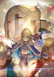 4girls :d armor armored_dress artoria_pendragon_(all) bangs black_scarf blonde_hair blue_bow blue_cloak blue_dress bow braid breasts cleavage cloak closed_mouth commentary crown dress enj! epaulettes eyebrows_visible_through_hair fate/apocrypha fate/extra fate/grand_order fate/stay_night fate_(series) fur-trimmed_cloak fur_trim gauntlets green_eyes hair_bow hair_bun hands_on_hilt haori highres japanese_clothes juliet_sleeves kimono koha-ace large_breasts long_sleeves mordred_(fate) mordred_(fate)_(all) multiple_girls nero_claudius_(fate) nero_claudius_(fate)_(all) okita_souji_(fate) okita_souji_(fate)_(all) open_mouth planted_sword planted_weapon puffy_sleeves red_dress red_scrunchie saber saber_alter scarf scrunchie smile sword upper_teeth weapon white_kimono yellow_eyes