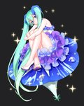 1girl absurdres alternate_costume aqua_hair bare_arms bare_legs bare_shoulders black_background blue_eyes blue_flower crossed_legs dew_drop dress eyebrows_visible_through_hair flower flower_request frilled_dress frills full_body hagehiro hatsune_miku head_tilt high_heels highres index_finger_raised long_hair looking_at_viewer morning_glory open_toe_shoes simple_background sitting smile solo sparkle sparkle_background strapless thighs toenails twintails very_long_hair vocaloid water water_drop white_dress white_footwear