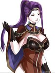 1girl absurdres asymmetrical_hair black_gloves breasts brown_eyes circlet cleavage cloak commentary earrings fire_emblem fire_emblem_echoes:_mou_hitori_no_eiyuuou fire_emblem_heroes gloves highres jewelry open_mouth playing_with_own_hair purple_hair side_slit solo sonia_(fire_emblem_gaiden) the_kingduke white_background