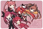 5girls aihara_enju black_bullet brown_eyes brown_hair chibi crossover cthugha_(nyaruko-san) date_a_live dobunezumi genderswap haiyore!_nyaruko-san hidan_no_aria itsuka_kotori kanzaki_h_aria long_hair look-alike multiple_crossover multiple_girls ore_twintail_ni_narimasu pink_hair red_eyes red_hair school_uniform serafuku tail_red thighhighs trait_connection twintails