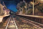 1girl black_hair blue_sky commentary_request fence from_side gemi grass night night_sky original outdoors power_lines railroad_tracks skirt sky solo standing star_(sky) starry_sky telephone_pole train_station