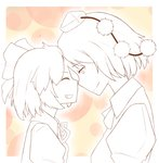 2girls bow bowtie cirno closed_eyes collared_shirt face-to-face forehead-to-forehead grin hair_bow hat height_difference lineart multiple_girls neck_ribbon outline partially_colored pom_pom_(clothes) ribbon shameimaru_aya short_hair smile tokin_hat touhou uyu_(keyakinoki)