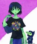 1boy 1girl artist_name bag black_hair bracelet breasts casual chibi contemporary green_eyes green_skin hair_between_eyes handbag hands_together hood hoodie jewelry mona_(shovel_knight) necklace open_mouth over_shoulder pants plague_doctor_mask plague_knight purple_background sachy_(sachichy) shirt short_hair short_sleeves shovel_knight signature small_breasts t-shirt two-tone_background upper_body white_background