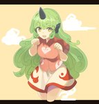 1girl breasts cloud commentary cropped_legs curly_hair green_eyes green_hair hands_up highres horn komano_aun letterboxed long_hair looking_at_viewer medium_breasts open_mouth paw_pose red_shirt rin_falcon shirt short_sleeves simple_background skirt solo thighs touhou very_long_hair white_skirt wing_collar yellow_background