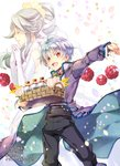 1boy 1girl :d basket black_pants bow bowtie bridal_gauntlets brown_eyes closed_eyes cover cover_page cupcake dress flower food fruit gloves hair_flower hair_ornament hair_ribbon hand_up hands_together highres holding holding_basket jewelry long_hair looking_at_viewer novel_cover official_art okashina_tensei open_mouth pants petals profile purple_coat raspberry red_neckwear ribbon ring shuri_yasuyuki sidelocks silver_hair smile standing white_dress white_gloves