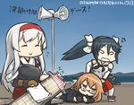 3girls :o anger_vein annoyed bench blue_sky brown_hair clenched_teeth closed_eyes commentary_request dated day dragging flight_deck glasses hair_ribbon hairband hakama_skirt hamu_koutarou handheld_game_console isuzu_(kantai_collection) japanese_clothes kantai_collection long_hair loudspeaker lying mochizuki_(kantai_collection) multiple_girls muneate neckerchief on_side playstation_portable polishing ribbon school_uniform serafuku shoukaku_(kantai_collection) sitting_on_bench sky smile solid_oval_eyes sparkle teeth translated twintails