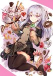 1girl black_legwear cake candy coffee_cup cup cupcake disposable_cup doughnut eating fire_emblem fire_emblem:_three_houses food fruit garreg_mach_monastery_uniform ice_cream ice_cream_cone licking_lips long_hair lysithea_von_ordelia macaron orange orange_slice pastry school_uniform se-u-ra silver_hair skirt smile solo spoon strawberry thighhighs tongue tongue_out