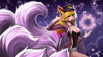 ahri animal_ears breasts cleavage fox_ears fox_tail goomrrat highres kitsune league_of_legends multiple_tails musical_note tail