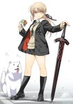 alternate_costume artoria_pendragon_(all) bangs black_footwear black_jacket black_legwear black_ribbon black_skirt blazer blonde_hair casual cavall_the_2nd crosswalk dark_excalibur dog dress_shirt fate/grand_order fate/stay_night fate_(series) food full_body hair_ribbon hamburger hand_on_hilt highres holding holding_food inoue_sora jacket loafers long_sleeves looking_at_viewer miniskirt parted_lips pleated_skirt ponytail ribbon saber_alter shirt shoes sidelocks simple_background skirt smile standing sweater_vest sword thighs weapon white_background white_shirt yellow_eyes