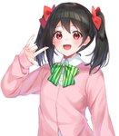 1girl :d \m/ bangs black_hair blush bow cardigan collared_shirt commentary_request diagonal-striped_bow dress_shirt eyebrows_visible_through_hair fingernails green_bow hair_between_eyes hair_bow hand_up hashiko_nowoto highres love_live! love_live!_school_idol_project open_mouth parted_bangs pink_cardigan red_bow red_eyes shirt simple_background smile solo striped striped_bow twintails upper_body white_background white_shirt yazawa_nico