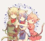 3girls animal_ears arms_behind_back belt blue_eyes blue_hair cat_ears cat_tail closed_mouth commentary_request dress elbow_gloves est fake_animal_ears fake_tail fingerless_gloves fire_emblem fire_emblem:_monshou_no_nazo gloves green_eyes green_hair headband katua long_hair lowres multiple_girls open_mouth paola parted_lips pink_eyes pink_hair short_dress short_hair short_sleeves siblings side_slit sisters sleeveless tail waka_ashakoniwa white_headband