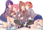 4girls ;d arm_hug blue_skirt bow brown_hair cheek-to-cheek commentary crossed_legs d: doki_doki_literature_club english_commentary eyebrows_visible_through_hair eyes_visible_through_hair fang green_eyes grey_jacket hair_between_eyes hair_bow hair_ornament hair_ribbon hairclip hand_on_another's_shoulder highres jacket kneehighs kneeling long_hair looking_at_viewer monika_(doki_doki_literature_club) multiple_girls natsuki_(doki_doki_literature_club) one_eye_closed open_mouth pink_eyes pink_hair pleated_skirt ponytail purple_eyes purple_hair red_bow ribbon sayori_(doki_doki_literature_club) school_uniform shoes short_hair simple_background sitting skirt smile two_side_up uwabaki v v-shaped_eyebrows very_long_hair white_background white_legwear white_ribbon xhunzei yuri_(doki_doki_literature_club)