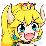 1girl :d blush bowsette collar commentary crown earrings english_commentary eyelashes fangs fream gyate_gyate horns jewelry long_hair mario_(series) meme new_super_mario_bros._u_deluxe open_mouth ponytail smile solo spiked_armlet spiked_collar spikes super_crown transparent_background turtle_shell v-shaped_eyebrows watermark