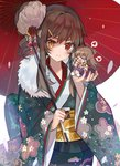 2girls >_< ahoge blue_kimono blush brown_hair chibi closed_mouth commentary_request fang floral_print flower fur_collar furisode girls_frontline hair_bun hair_flower hair_ornament hair_ribbon hairclip hakama head_tilt heart heterochromia holding holding_umbrella japanese_clothes kanzashi kimono long_hair long_sleeves looking_at_viewer m1014_(girls_frontline) mid_(gameshe) multiple_girls obi open_mouth oriental_umbrella print_kimono purple_hakama red_eyes red_kimono red_ribbon rfb_(girls_frontline) ribbon sash sidelocks smile spoken_heart standing thick_eyebrows umbrella upper_body white_flower wide_sleeves yellow_eyes