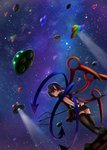 1girl ahoge arms_behind_back asymmetrical_wings black_dress black_hair black_legwear commentary_request dress dutch_angle flying_saucer from_behind from_below highres holding_polearm houjuu_nue light_smile looking_at_viewer looking_back luke_(kyeftss) milky_way night night_sky on_roof outdoors panties pantyshot pantyshot_(standing) pointy_ears polearm red_eyes short_dress short_hair sideways_mouth sky snake solo space_craft spotlight standing star_(sky) starry_sky thighhighs touhou trident ufo underwear weapon white_panties wings wrist_cuffs