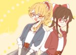 2girls alternate_costume alternate_hairstyle bangs bespectacled black_skirt blonde_hair bow braid brown_eyes brown_hair dutch_angle eyebrows_visible_through_hair glasses hair_bow hair_ornament hair_scrunchie hakurei_reimu jewelry kirisame_marisa multiple_girls necklace ponytail scrunchie side_braid sidelocks signature single_braid skirt souta_(karasu_no_ouchi) star star_necklace touhou upper_body yellow_background yellow_eyes