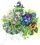 1girl andonkurage blush_stickers daisy dress flower ghost_tail gradient gradient_background green_dress green_eyes green_hair hat highres long_sleeves looking_at_viewer pansy parted_lips short_hair soga_no_tojiko solo tate_eboshi touhou traditional_media violet_(flower) watercolor_(medium)