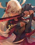 1girl ahoge arm_guards arm_up bangs big.c black_bow black_coat blue_background bow breasts coat collarbone commentary_request dark_skin family_crest fate_(series) fighting_stance fingernails floating_hair hair_between_eyes hair_bow hair_ornament high_collar highres holding holding_sword holding_weapon koha-ace light long_hair looking_at_viewer medium_breasts okita_souji_(alter)_(fate) okita_souji_(fate)_(all) open_clothes open_coat serious short_sleeves signature silver_eyes simple_background solo standing sword tassel tied_hair upper_body v-shaped_eyes very_long_hair weapon white_hair wide_sleeves wind