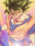 1boy artist_name aura black_eyes black_hair blue_background blurry dougi dragon_ball dragon_ball_z expressionless floating_hair from_above frown glowing gradient gradient_background highres looking_away male_focus multicolored multicolored_background orange_background pink_background profile purple_background serious shaded_face short_hair simple_background son_gokuu sparkle standing tarutobi twitter_username upper_body wristband